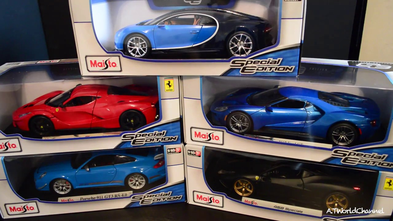Unboxing 1 18 Maisto Cast Car From Costco Bugatti Chiron Laferrari 458 Speciale 911 Gt3 Rs