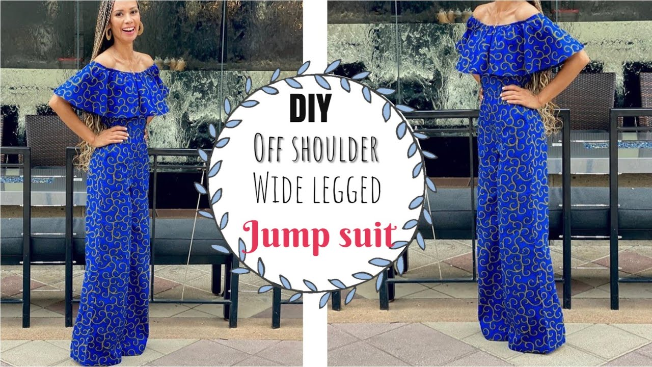 DIY-How to sew off-shoulder wide leg Jumpsuit without a pattern! ANKARA FABRIC