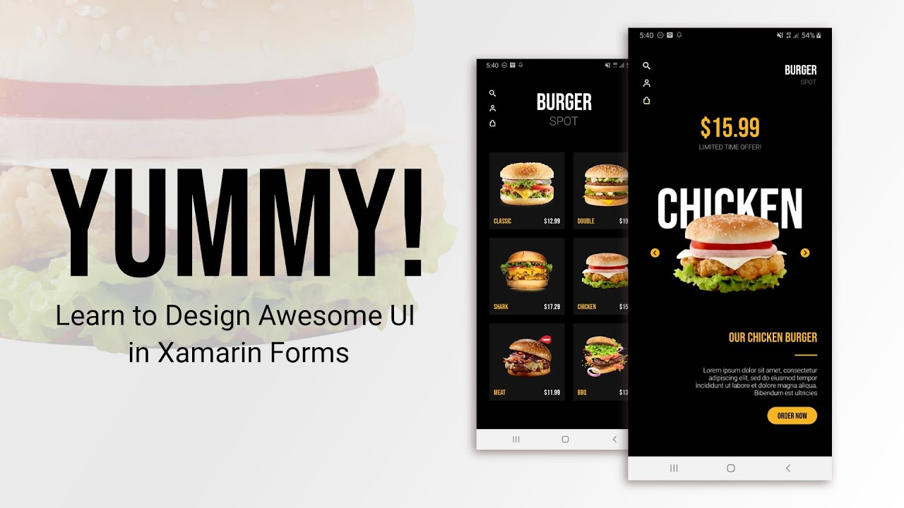 Create Burger Shop App in Xamarin Forms | Collection View, Carousel View & MVVM in Xamarin Forms