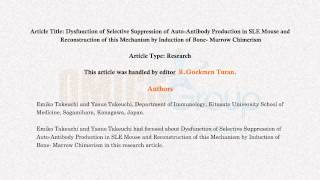 Auto-Antibody suppression research published by OMICS Group