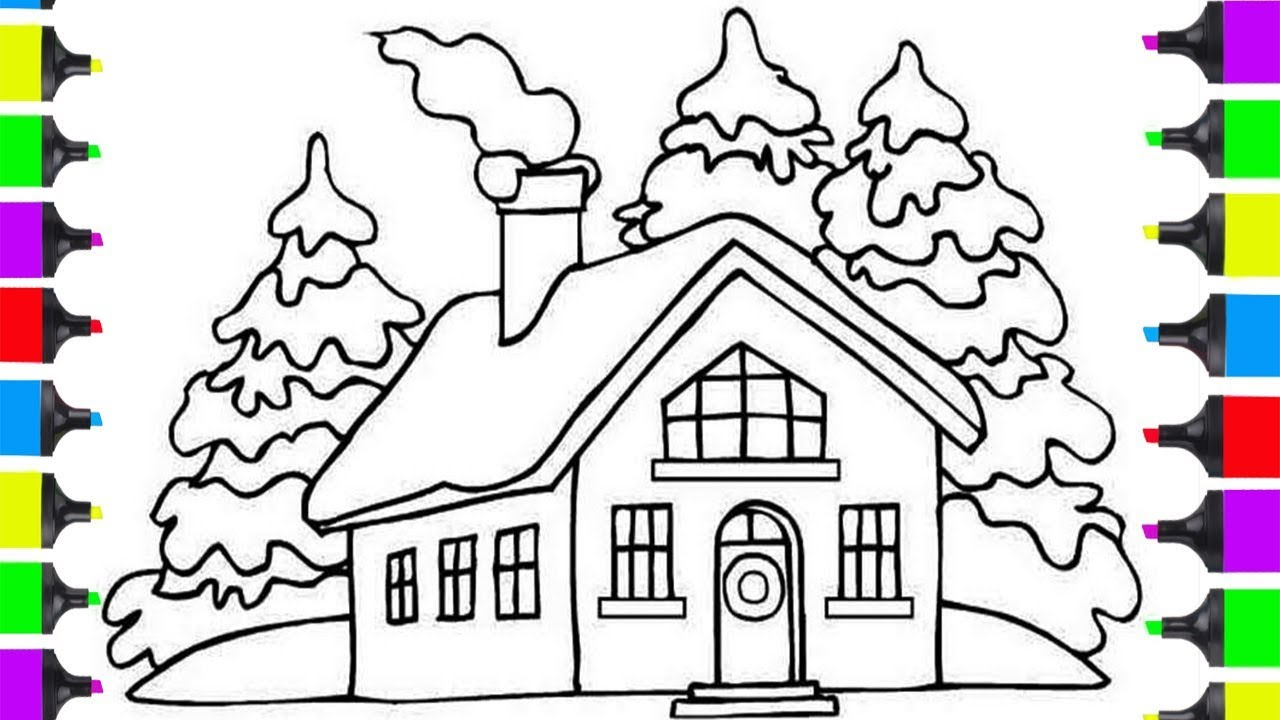 How to draw christmas santa clause house coloring pages for kids learn art tutorials