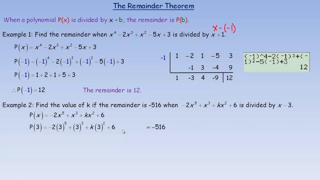 Remainder Theorem Youtube