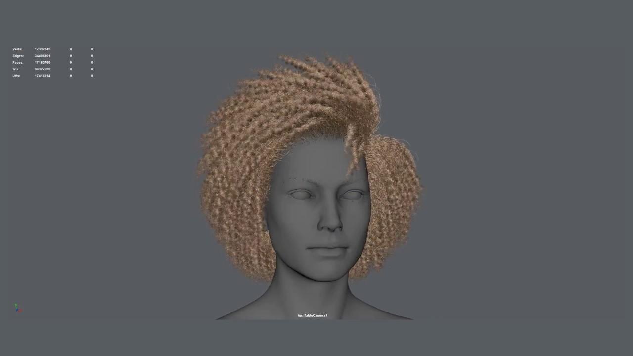Ornatrix Hair for Games Modeling and UVs Maya Model