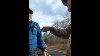 hilarious old men fighting over politics in middle of highway in work zone