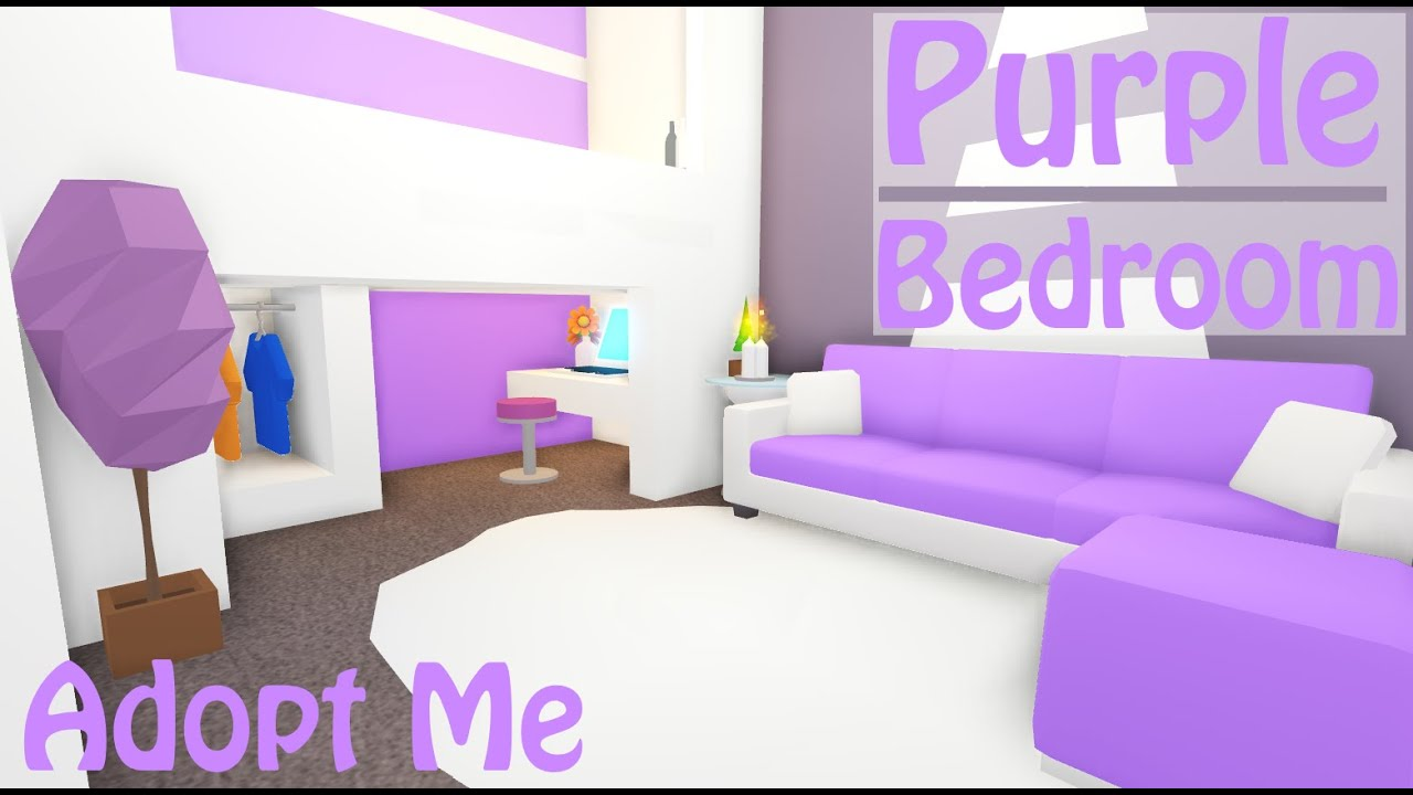 Purple Modern Bedroom Speed Build Adopt Me Roblox Youtube