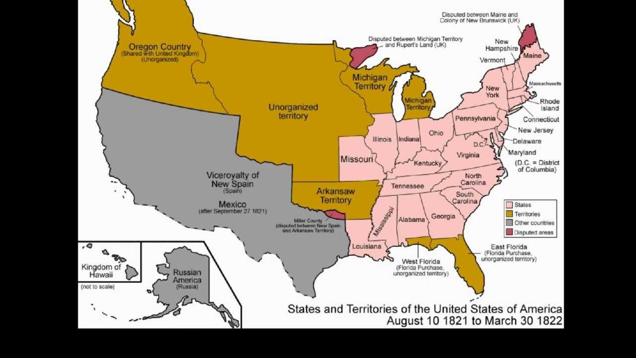 Territorial Evolution Of The United States YouTube - Map of us 1845