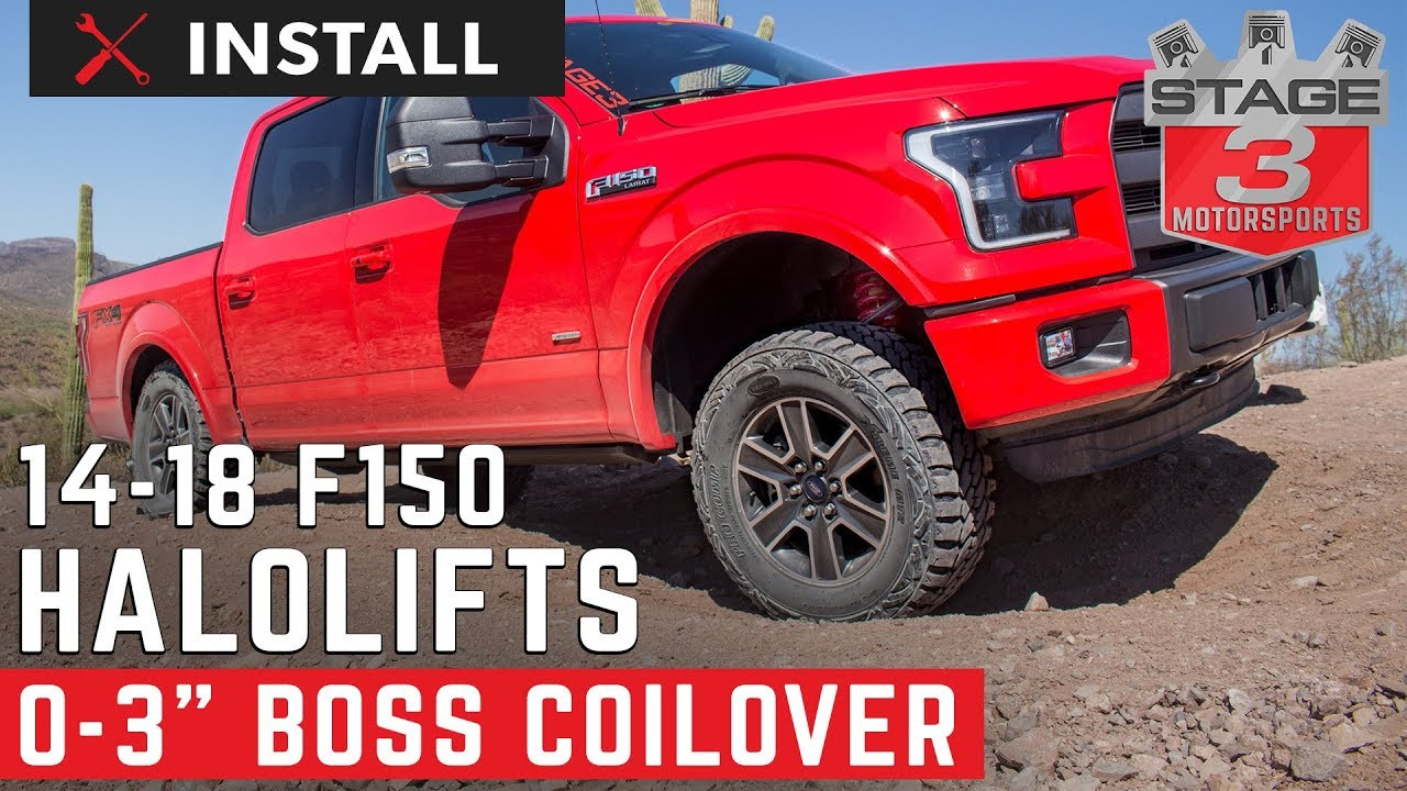 2014 2016 f 150 4wd f150lifts boss 0 3 adjustable coilover lift leveling kit install youtube