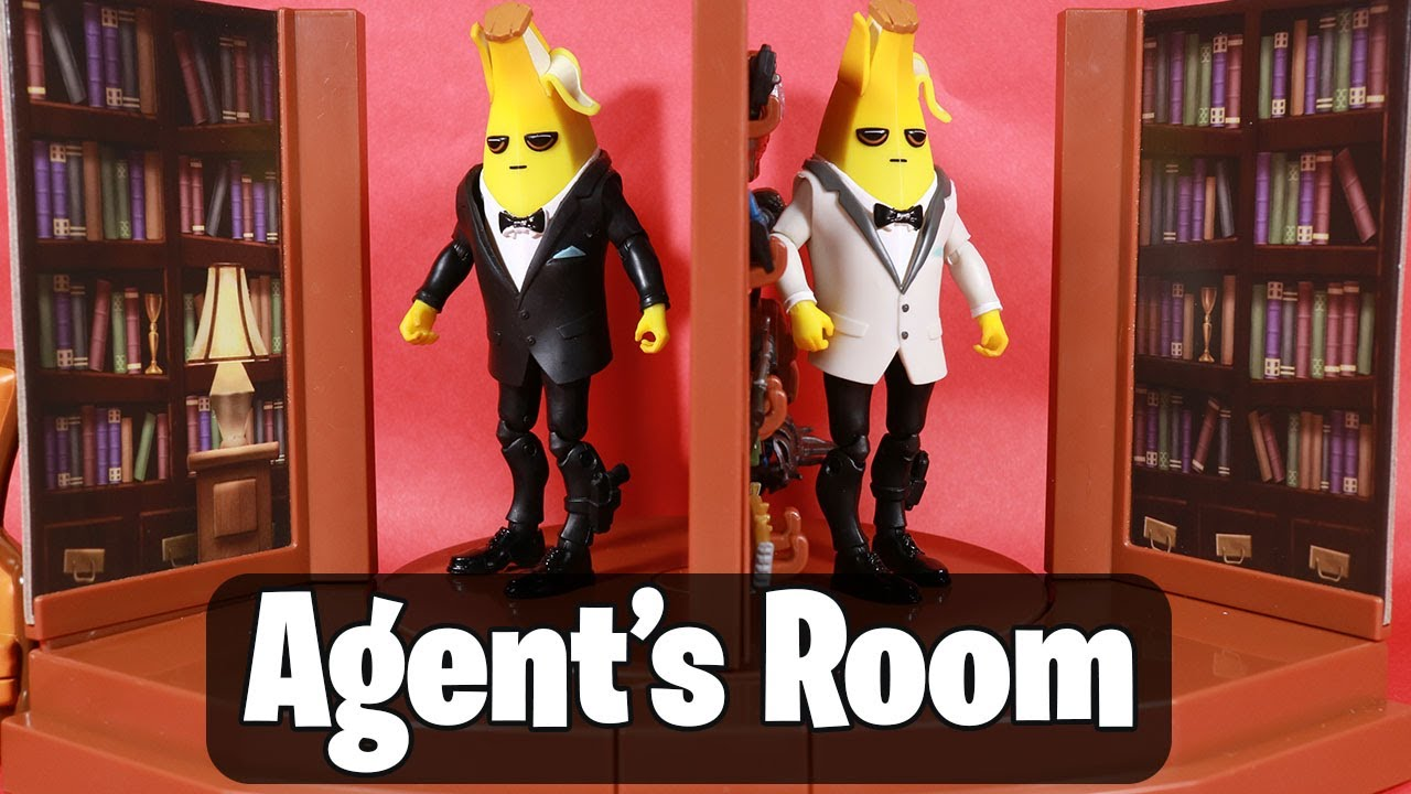 Playset with Secret Passageway Includes 2 Legendary Accessories 4-inch Accessory Storage. Articulated Agent Peely Figures Fortnite Agent/'s Room Agent Peely Weapons