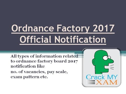 Ordnance factory 2017 official notification