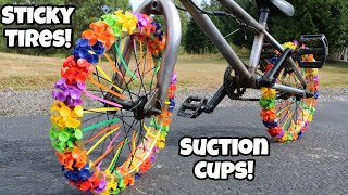 Sticky Suction Cup Bike Tires! Can I Ride it?!