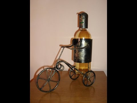 Making a man on a tricycle wine bottle holder