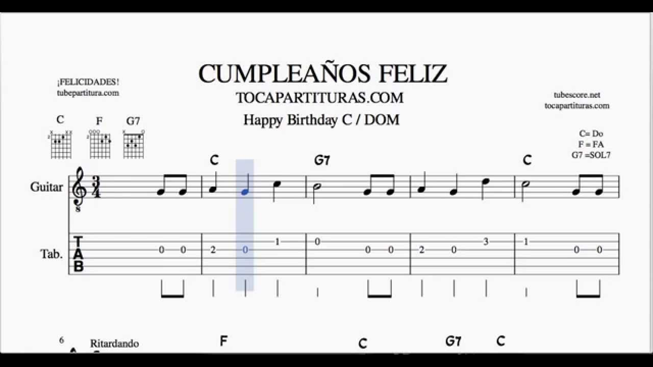 Happy Birthday Easy Tabs Sheet Music For Guitar C Youtube