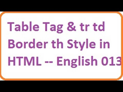 Table tag and tr td border th style in html english for Html table tr td