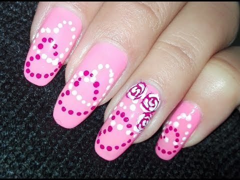 Pink Dotted Hearts And Roses Nail Art Tutorial:No Tools Valentine's Day Nail Art Design | Rose Pearl