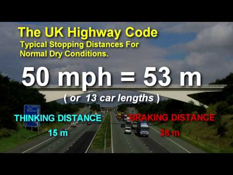 UK Highway Code Stopping Distances