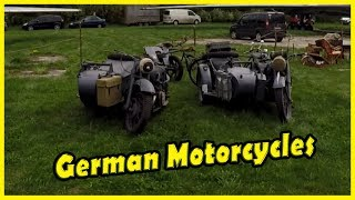 Classic WW2 German Motorcycles Review 2018. Retro and Vintage Motorcycles. Old Car Land Show