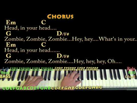 Zombie (The Cranberries) Piano Cover Lesson with Chords/Lyrics