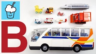 Learning vehicles starting with letter B for kids with tomica トミカ VooV ブーブ Playbmobil