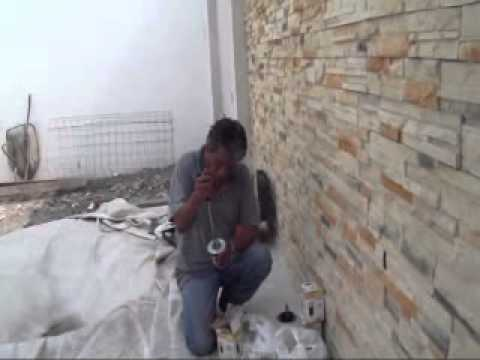 Muro recubierto con fachaleta de cantera 02  YouTube