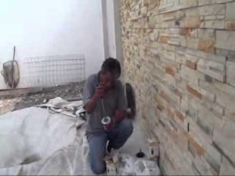 Muro recubierto con fachaleta de cantera 02 youtube - Colocar piedra en pared ...