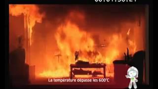 Vidéo simulation d'un incendie domestique - Feu dans une maison