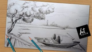 How to Draw and Shade River Side Landscape | Drawing Tutorial