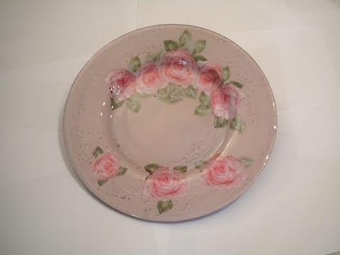 Tutorial decoupage su piatto di vetro con crackl country for Decoupage su vaso di vetro