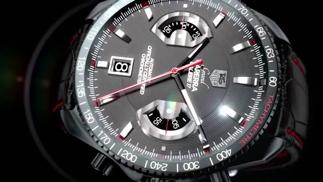 Купить мужские наручные часы Tag Heuer Grand Carrera копии - YouTube
