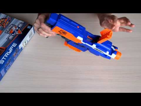 видео: nerf elite stryfe обзор полуавтоматической детской винтовки (бластер) от фирмы hasbro