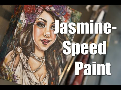 """Jasmine""  Speed Paint Video Custom Art Portraiture In Acrylic ( Time Lapse)"