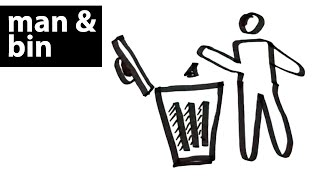 How to draw a man throwing dust in a bin? Easy drawing tutorials for beginners, kids and children