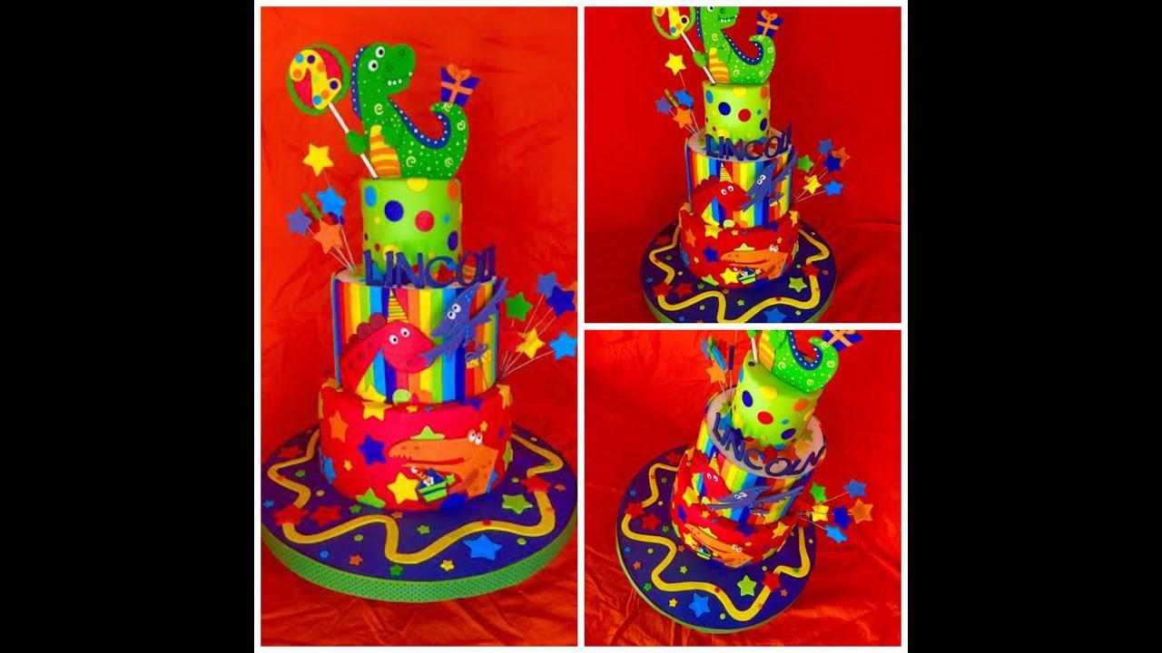 Making A Happy Dinosaur Cake!