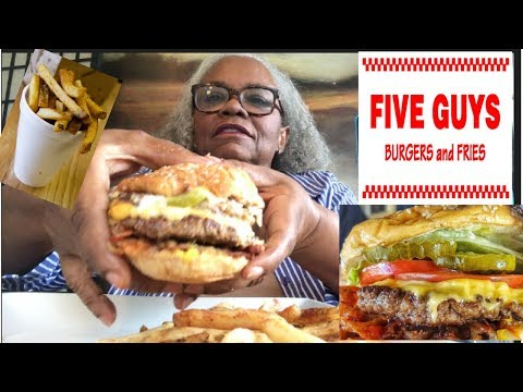 FIVE GUYS BURGERS AND FRIES MUKBANG ( EATING SHOW )
