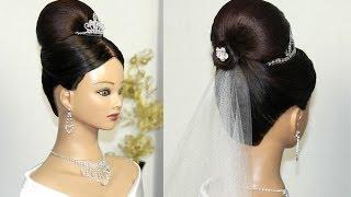 Свадебная прическа с фатой для средних волос.(В этом видео уроке я покажу вам, как сделать свадебную прическу с красивым четким силуэтом. Эта прическа..., 2014-05-04T14:40:52.000Z)