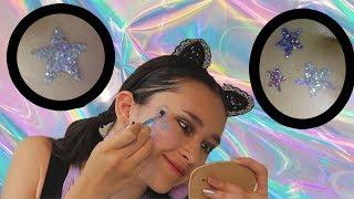 Een HOLO glittertattoo op mijn gezicht zetten! | DIY