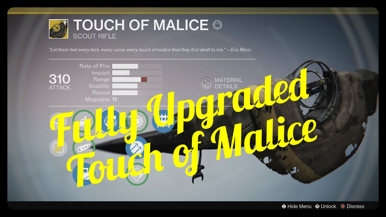 Destiny Fully Upgraded Touch of Malice - YouTube