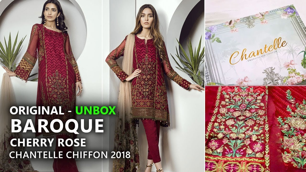 d0be87a70c Baroque Chantelle Chiffon Collection 2018 - Unbox Cherry Rose Pakistani  Branded Clothes