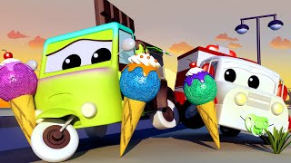 ICE CREAM & CANDY! The TUMMY Ache with the Baby Cars in Car City ! - Cartoon for kids