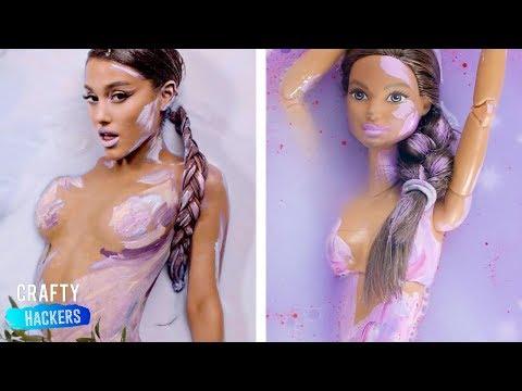 10 DIY Barbie Hacks To Look Like Famous Celebs | Ariana Grande, Camila Cabello, Dua Lipa, BTS