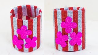 How To Make A Pen/Pencil Holder With Glitter Paper And Plastic Bottle | Foam-sheet Craft Ideas