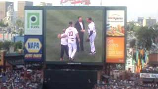 Maddux throws out First Pitch