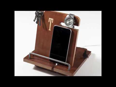 Personalized Wood Phone Docking Station Organizer