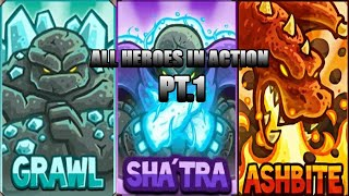 All Heroes In Acтion - Kingdom Rush Frontiers part 1.
