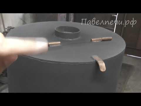 Печь для бани с дверкой со стеклом и баком для воды
