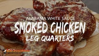 Smoked Chicken Leg Quarters with White Sauce Recipe on Weber Kettle