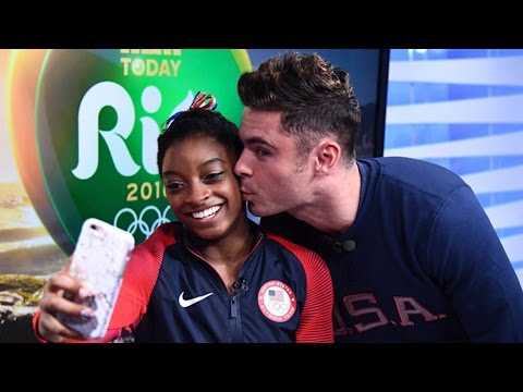 SO CUTE! Zac Efron Surprises Simone Biles With Kiss In Rio!