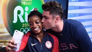 so cute zac efron surprises simone biles with kiss in rio