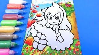 TÔ MÀU TRANH CÁT HÌNH CÔNG CHÚA TUYỆT ĐẸP! Color Sand Paint