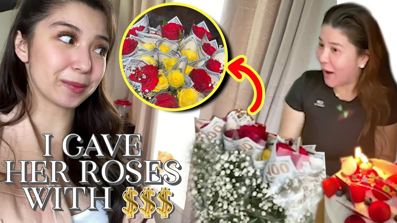 Money Bouquet worth 100,000 for Mom's birthday! (I gave her roses with $$$)
