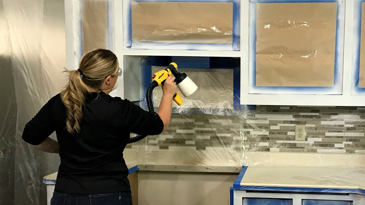 How To Paint Kitchen Cabinets With A Paint Sprayer Youtube